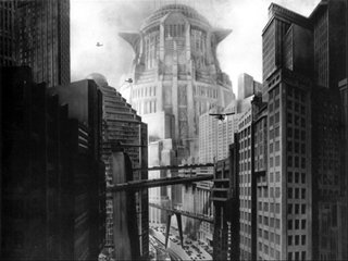 Scenery art from Fritz Lang's Metropolis (Germany, 1927)