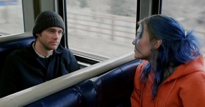 Joel and Clementine on the train.