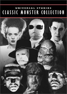 "DVD cover showing horror characters as depicted by Universal Studios. Elsa Lanchester from Bride of Frankenstein (1935), Claude Rains from The Invisible Man (1933), Bela Lugosi from Dracula (1931), Claude Rains from Phantom of the Opera (1943), ""The Creature"" from Creature from the Black Lagoon (1954), Boris Karloff from Frankenstein (1931), Lon Chaney Jr. from The Wolf Man (1941) and Boris Karloff from The Mummy (1932)"
