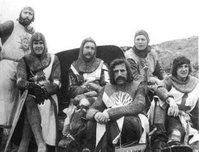 Cast on the set of Monty Python and the Holy Grail.