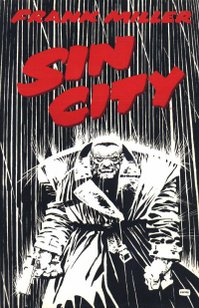 Cover of Sin City shows Marv walking through the rain.