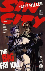 Cover to Sin City: The Big Fat Kill #2. Art by Frank Miller. The characters Dwight and Gail.