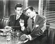 Farley Granger (left) and Robert Walker in Strangers on a Train