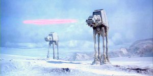 The Empire attacks the Rebel base on Hoth.