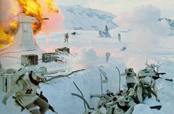 Rebel troops fight against the Imperial walkers and stormtroopers