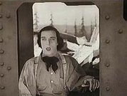 Buster Keaton in the locomotive cab.
