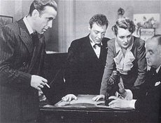 Actors Bogart, Lorre, Astor and Greenstreet in The Maltese Falcon (1941)