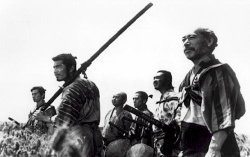 Six of The Seven Samurai.  From left to right, Katsushiro, Kikuchiyo, Shichiroji, Kyuzo, Heihachi, and Kambei.